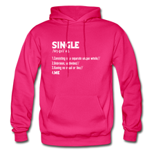 "Load image into Gallery viewer, ""SINGLE"" Unisex Hoodie (4 fashion colors) - fuchsia"