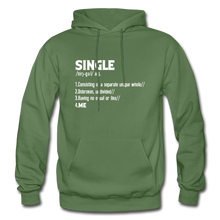 "Load image into Gallery viewer, ""SINGLE"" Unisex Hoodie (4 fashion colors) - military green"
