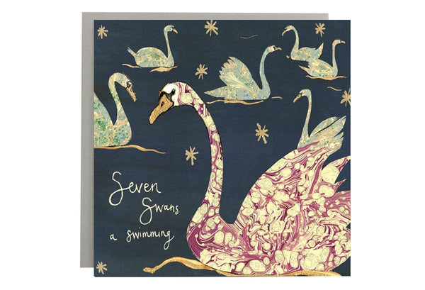 Seven Swans A Swimming Christmas Card-Anna Wright