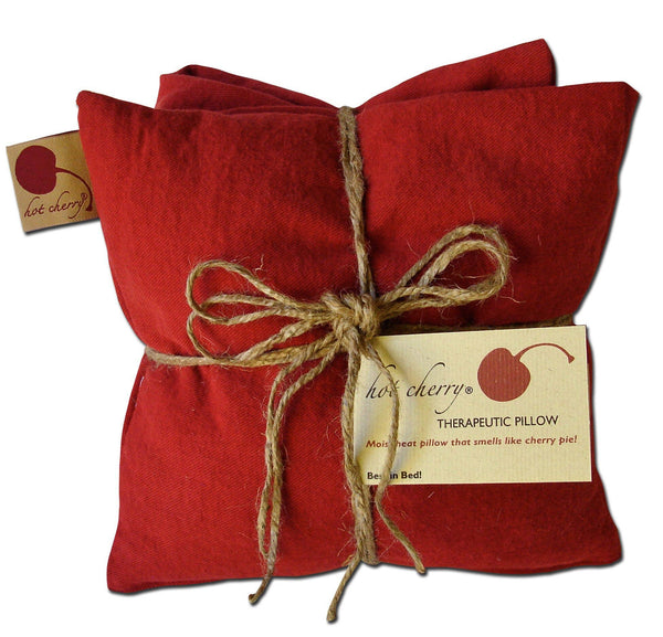 Hot Cherry Pillows - Triple Square Pillow -Red Denim