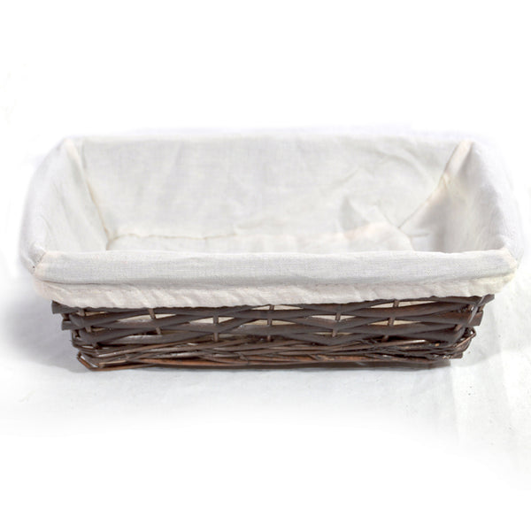11.5''x 8'' Rectangular Basket with Fabric Lining - Mahogany Color
