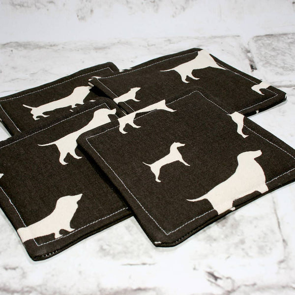 Brown & White Dog Coasters, Set of 4