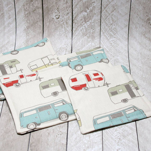 Retro Camper Fabric Coasters, Set of 4