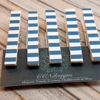 Dark Blue Stripe Clothespin Magnets, Set of 5