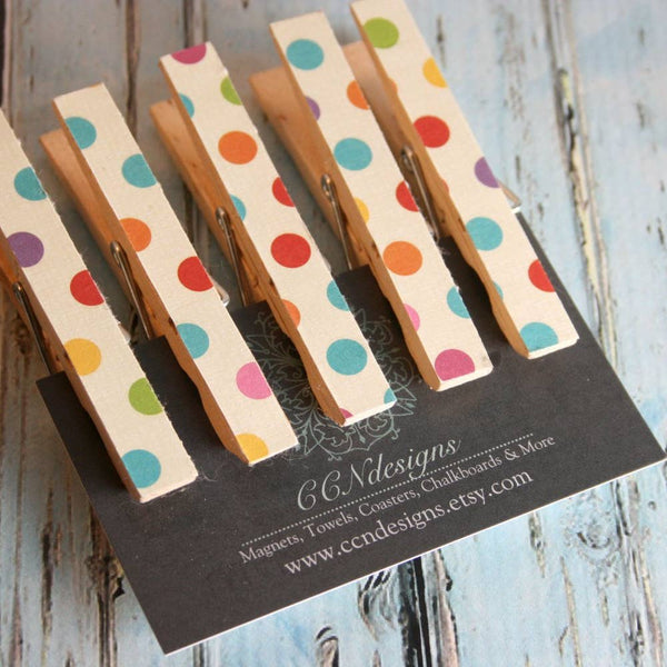 Polka Dot Clothespin Magnets, Set of 5