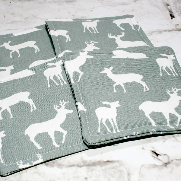 Gray & White Deer Print Fabric Coasters, Set of 4