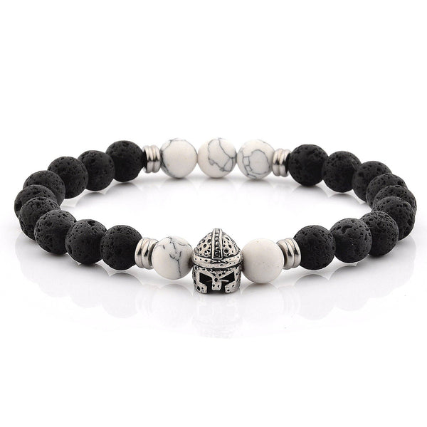 West Coast Jewelry - 11.5 Lava and Howlite Spartan Helmet Bracelet