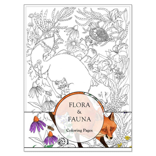 Flora And Fauna Coloring Pages Set of 3
