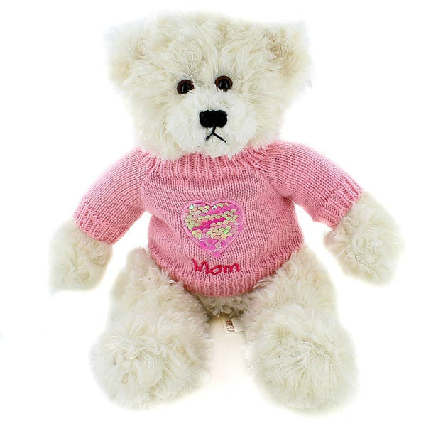 12'' Mom Heart Sweater Chocolate Brandon Bear