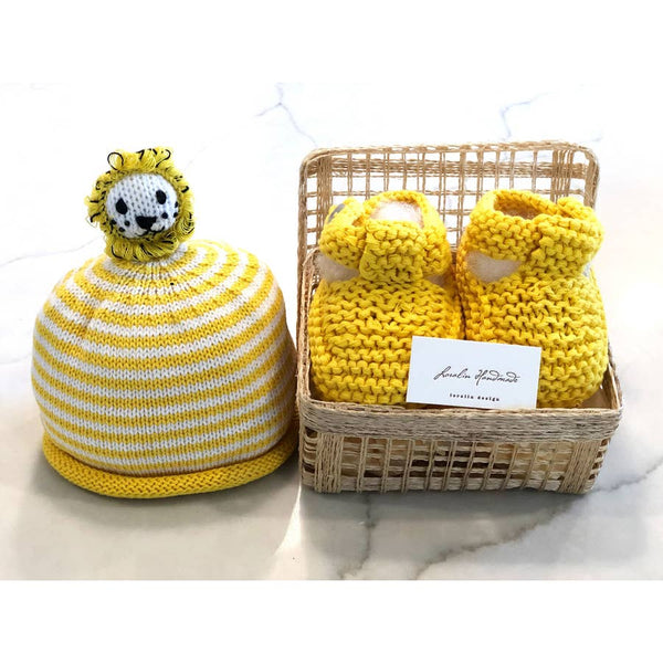Lion Booties and Hat in Basket