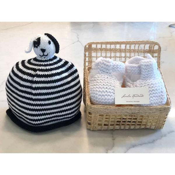 Dog Booties and Hat in Basket
