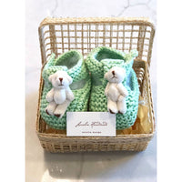 Mint Teddy Bear Booties in Basket