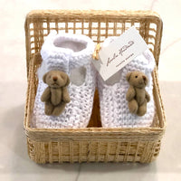 White Bear Booties in Basket