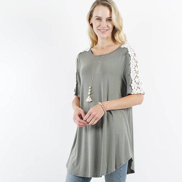 42pops - Crew neck Shoulder Flower Crochet Tunic