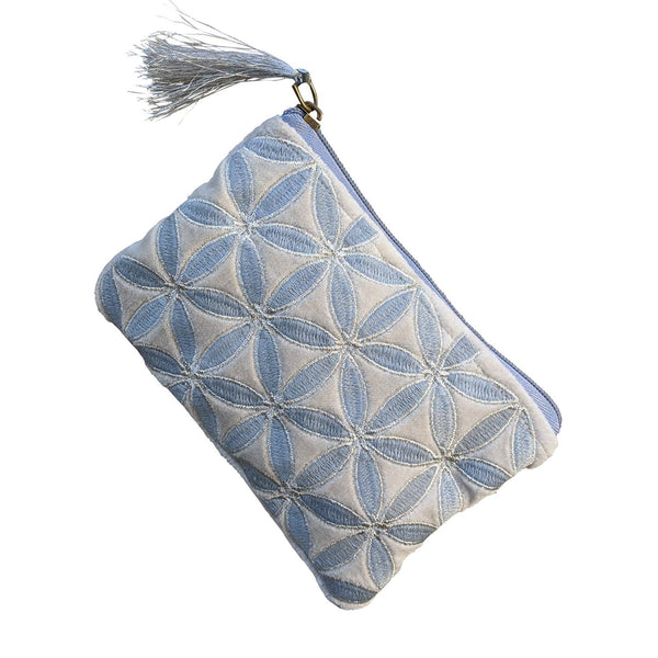 Chloe & Lex - Silver Light Blue Flower Coin Purse