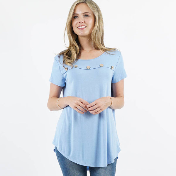 42pops - Front Button-Accent Curved-hem Tunic
