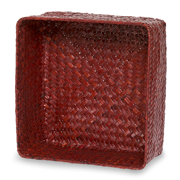 8.5''x 8.5'' Red Seagrass Baskets, Square-Medium