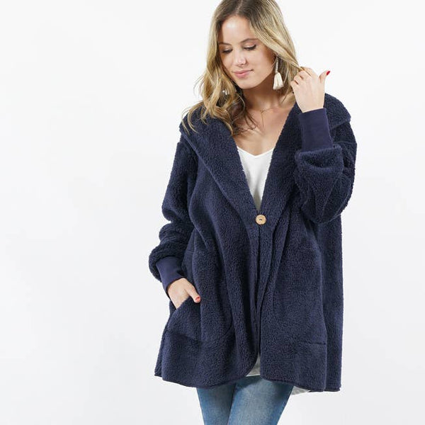 42pops - Hooded Cocoon Faux-Fur Jacket /w Button Brooch