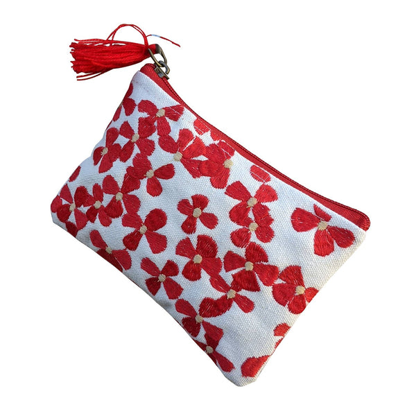 Red White Floral Coin Purse- Chloe & Lex