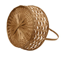 13''x 18'' Round Basket with Bamboo Handle with White Wash Dye