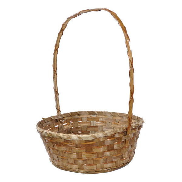 13''x 18'' Braided brown bamboo basket with large handle