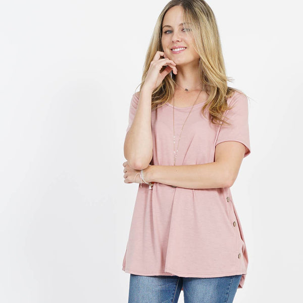 42pops - Side Button Detailed Short Sleeve Top