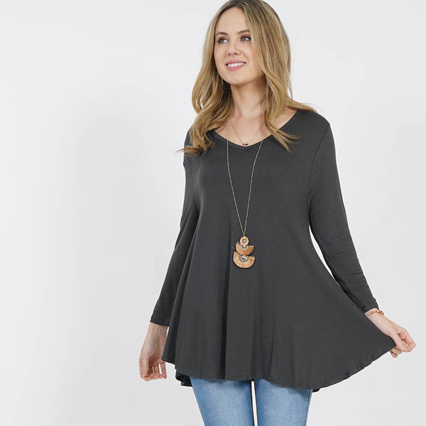 42pops - V-neck long sleeve swing tunic