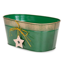 10.5''x 6'' Oblong Holiday Metal Basket with Star-Green & Gold