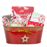 10.5''x 6'' Oblong Holiday Metal Basket with Star-Red & Gold
