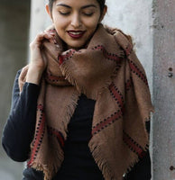 Leto Accessories - Plaid Frayed Trim Blanket Scarf
