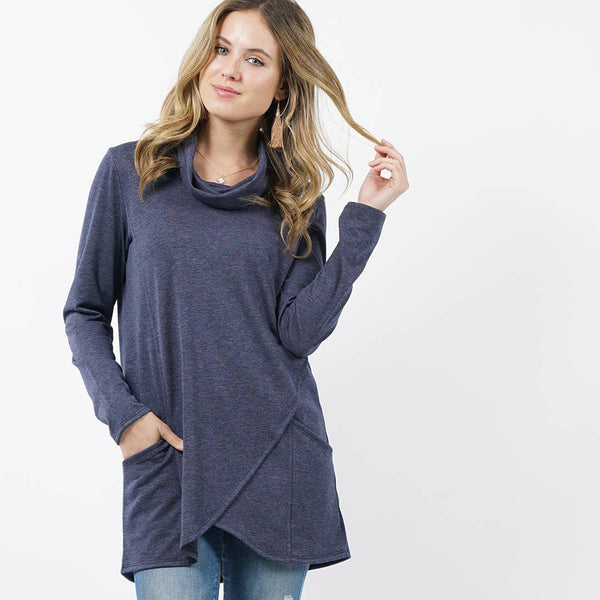 42pops - Cowl neck tulip hem pocket tunic