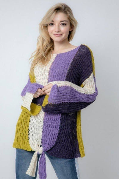 Davi & Dani - Colorblock Striped Open Fishnet Knit Cozy Sweater