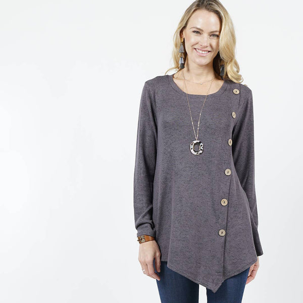 42pops - Brushed hacci front button detailed tunic