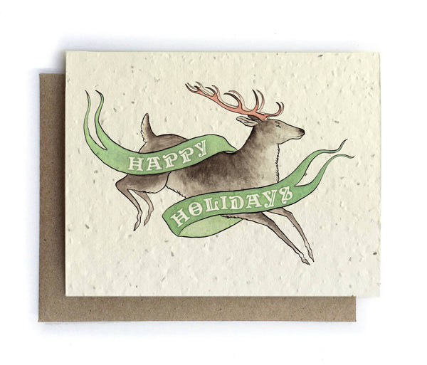 Reindeer Holiday Greeting Cards - Plantable Seed Paper