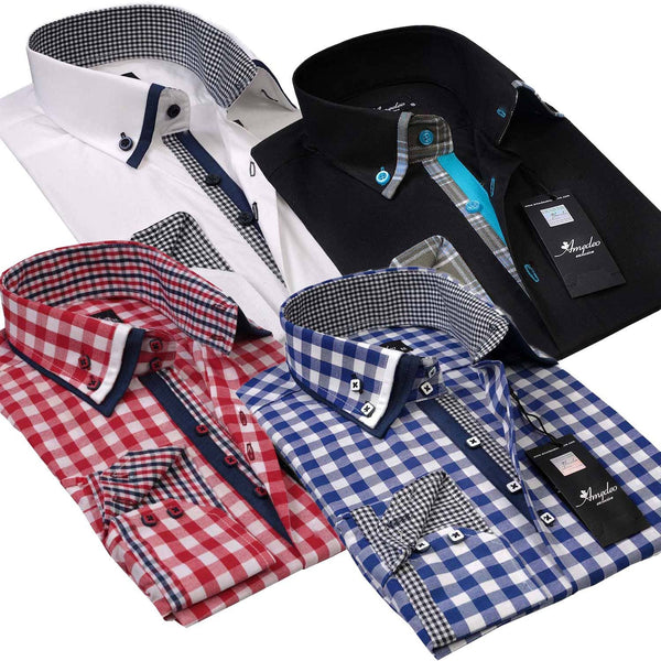 Amedeo Exclusive - Reversible Tailor Fit Button Down Dress Shirt Turkey Made