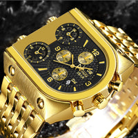 TEMEITE Luxury Golden Clock 3 Time Zone