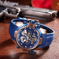 Blue Rubber Strap Automatic Waterproof Watches RGA3503