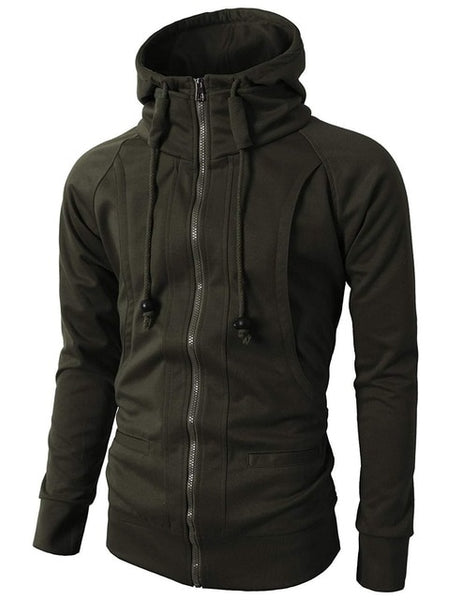 Zipper Hooded Sweatshirt For Men