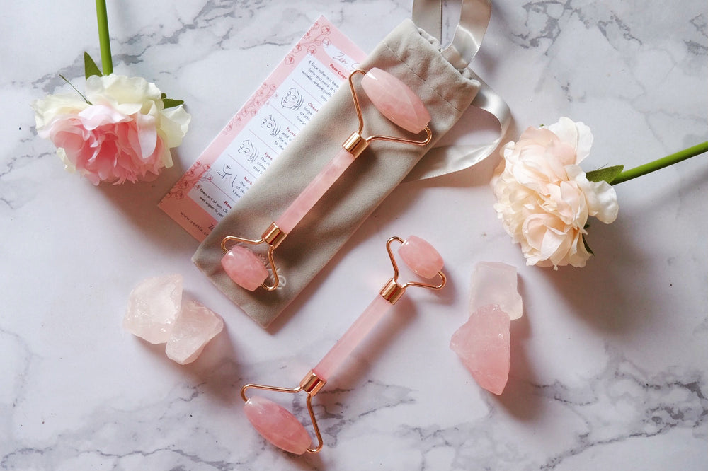 Rose quartz facial roller Zenkle singapore beauty tools gua sha massage tool guasha sg face massage skin-care skincare skin care accessory facial care