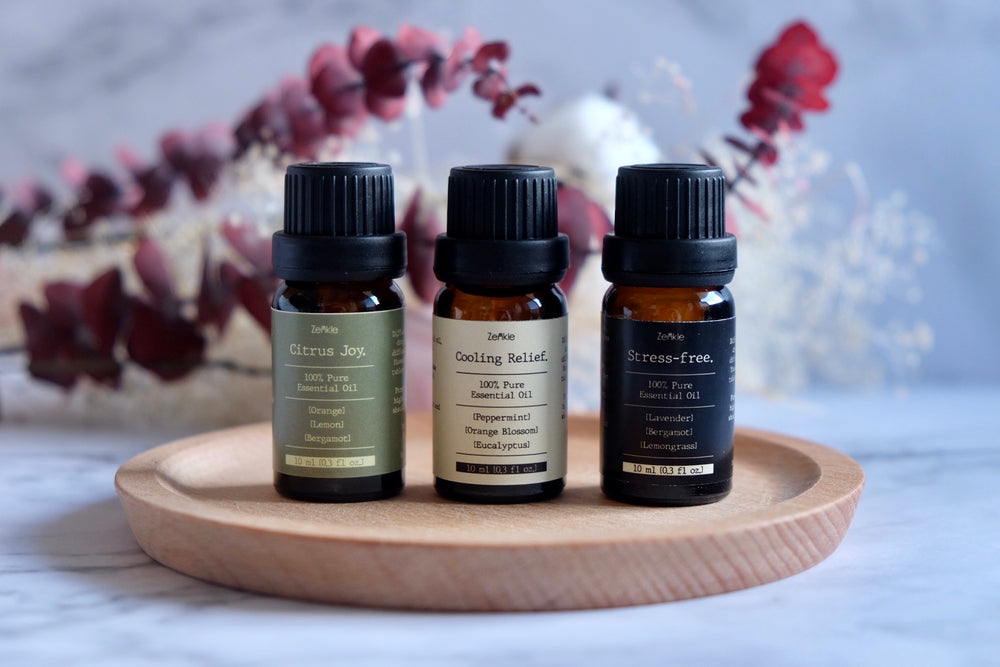 Stress-free essential oil blend Zenkle singapore pure essential oils natural oils sg diffuser oil aromatherapy stress-free lavender lemongrass bergamot