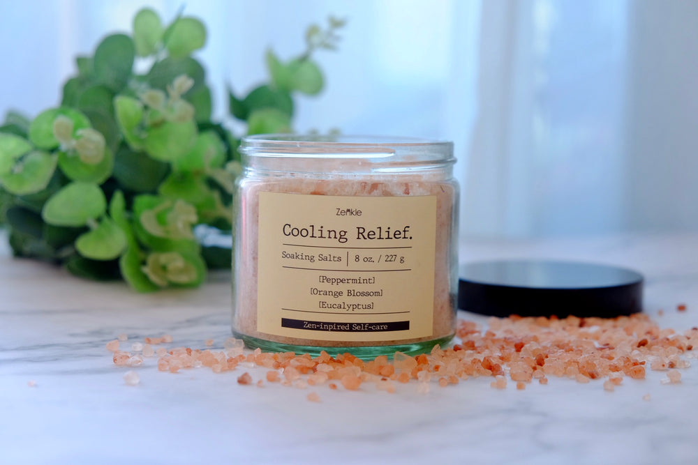 Zenkle singapore bath salts soaking salts bathing salt refreshing stress relief calming aromatherapy sg essential oil blend himalayan pink salt cooling relief peppermint minty mint neroli eucalyptus