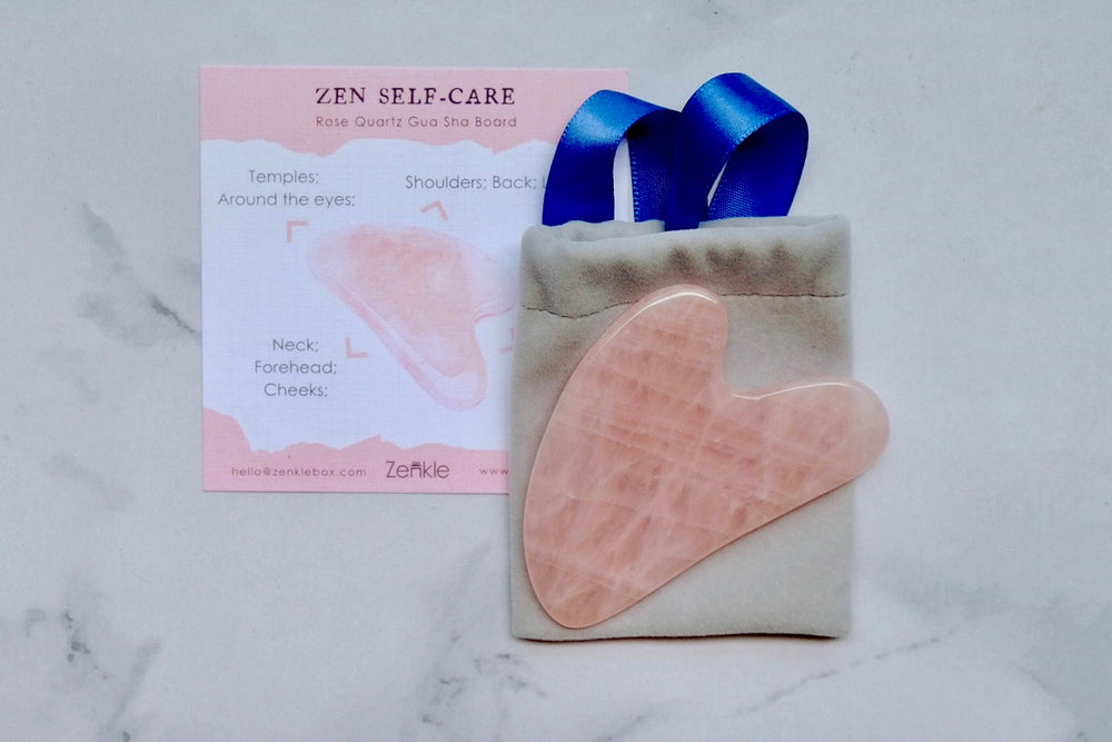 Rose quartz Gua Sha board Zenkle beauty tools gua sha massage tool guasha sg face massage skin-care skincare skin care accessory facial care
