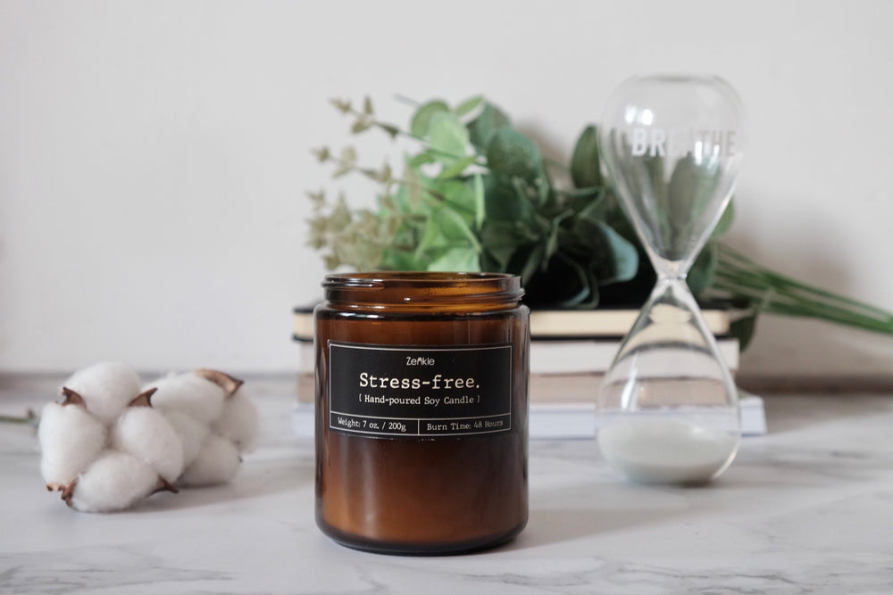 Stress-free soy candle scented candle handmade candles Zenkle singapore essential oil blend botanical calming stress relief lavender