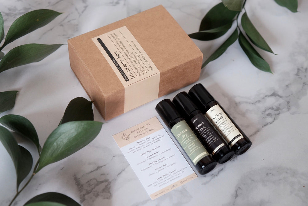 Essential oil roll-on bundle zenkle singapore essential oil roll-on rollon rollerball aromatherapy sg cooling relief peppermint minty mint neroli eucalyptus stress free lavender lemongrass bergamot citrus joy lemon orange bergamot stress relief refreshing calming gift set