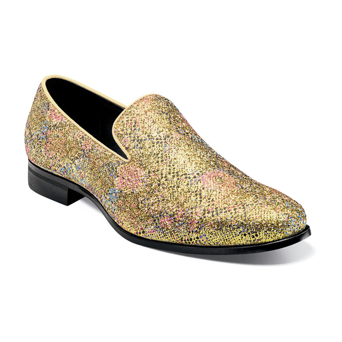 Gold Glitter Floral Slip On