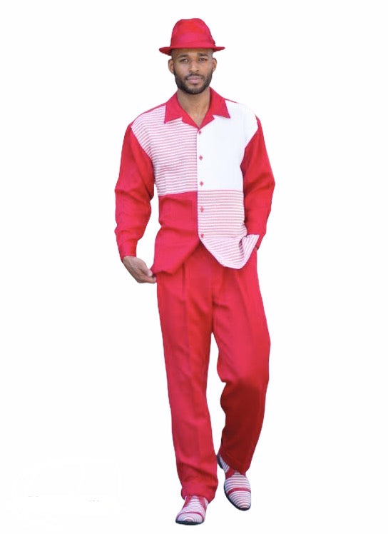 Red Four Square Leisure Suit