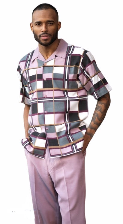 Lilac Checkered Patterned Leisure Suit