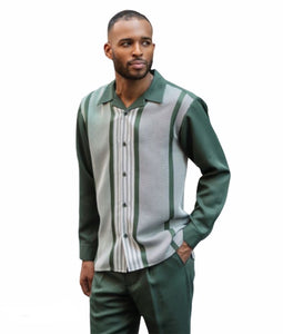 Green Striped Leisure Suit