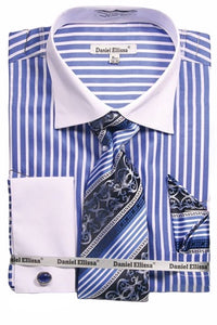 Striped French Cuff Dress Shirt (Includes Tie and Hanky)