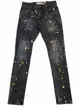 Load image into Gallery viewer, Slim Fit Black Paint Splattered Jeans